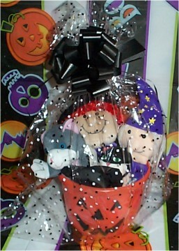 Pumpkin Basket with stuffed Cat and Witch and Cat Hand Puppet