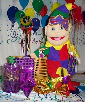 April Fool's Day Jester Gift Basket unwrapped