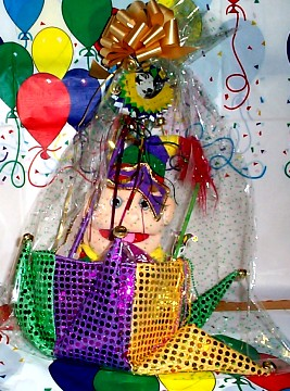 April Fool's Day Jester Gift Basket wrapped