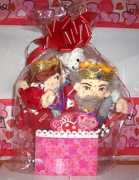 Doll Puppet King & Queen of Hearts Basket