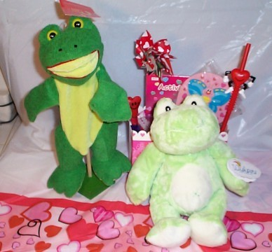 Plush Toadily Yours Frog Valentine Basket